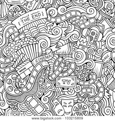 Cartoon doodles cinema seamless pattern