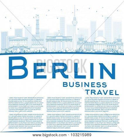 Outline Berlin skyline with blue building and copy space. Business travel concept.