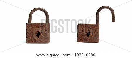 Antique iron lock on a white background opened and closed