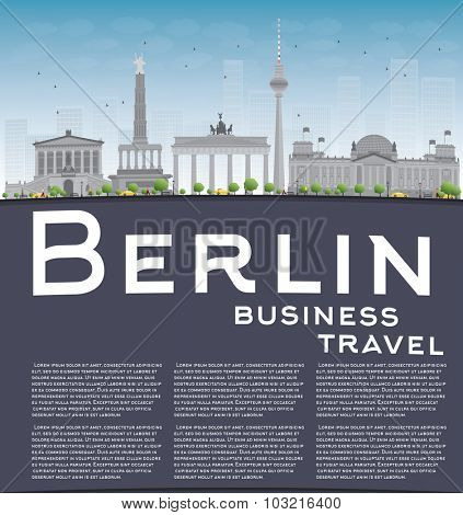 Berlin skyline with grey building, blue sky and copy space. Business travel concept.