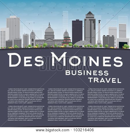 Des Moines Skyline with Grey Buildings, Blue Sky and copy space. Business travel concept.