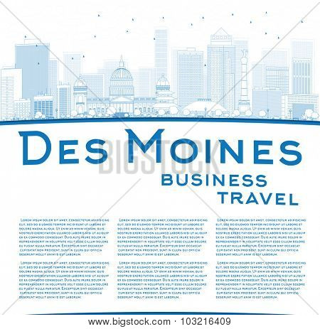 Outline Des Moines Skyline with Blue Buildings and copy space. Business travel concept.