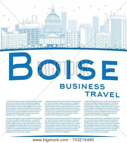 Outline Boise Skyline with Blue Building and copy space. Business travel concept.
