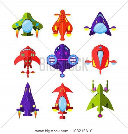 Colourful Cartoon Rockets and Spaceships Vector Illustration Set