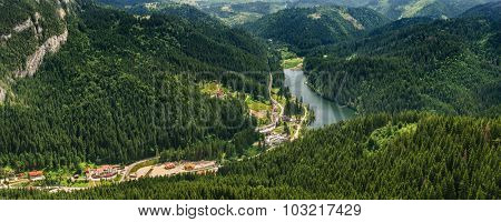 Panoramic view to Lacu Rosu AKA Red Lake, Carpathians, Romania