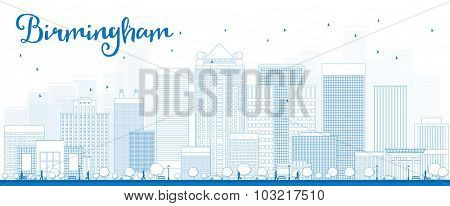 Outline Birmingham (Alabama) Skyline with Blue Buildings.