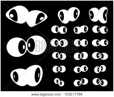Set Of Cartoon, Silhouette Eyes. Vector Illustration Isolated On Black Background.