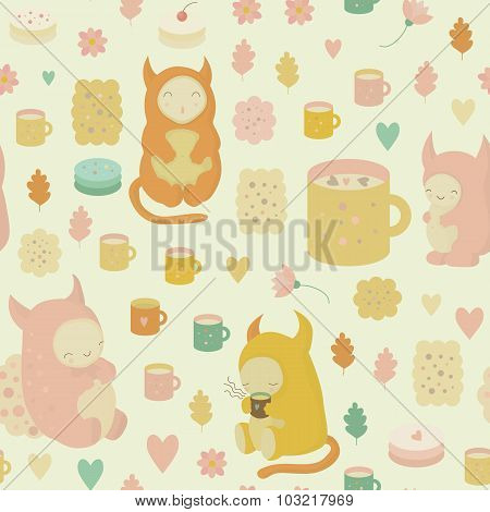 Childish seamless background with monsters in vector