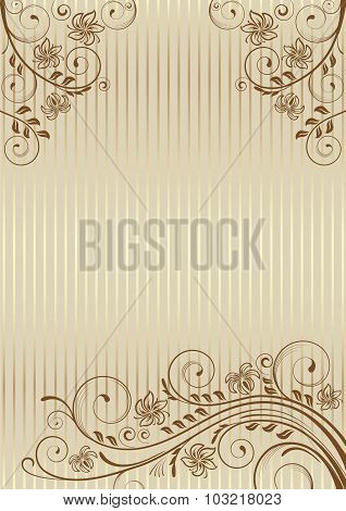 Decorative frame with swirls and leaves on decorative background.