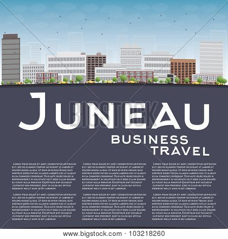 Juneau (Alaska) Skyline with Grey Building and Blue Sky. Business travel concept.