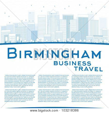 Outline Birmingham (Alabama) Skyline with Blue Buildings and copy space. Business travel concept.
