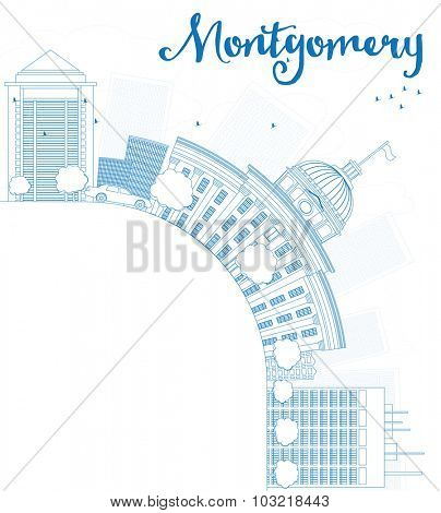 Outline Montgomery Skyline with Blue Building and copy space. Alabama.