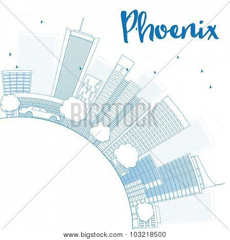 Outline Phoenix Skyline with Blue Buildings and copy space
