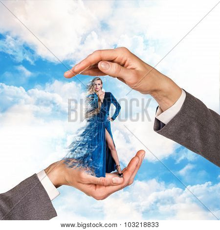 Hands holding woman