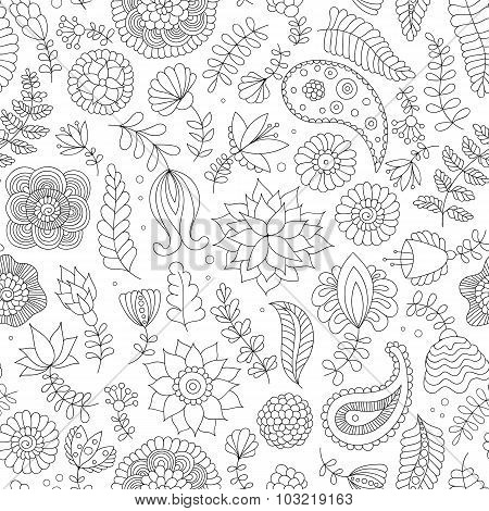 Seamless pattern with black and white doodle flowers
