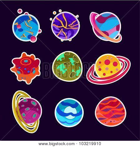 Fantasy Cartoon Planets Set