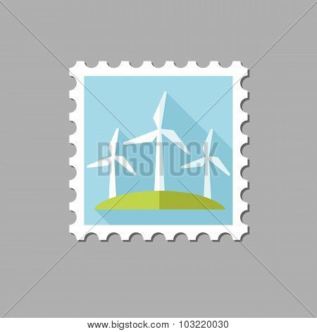 Windmill flat stamp with long shadow