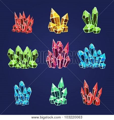 Magic Crystals Icons Set