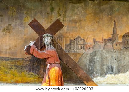 Old Painting At The Piarist Church In Krems, Jesus With Cross