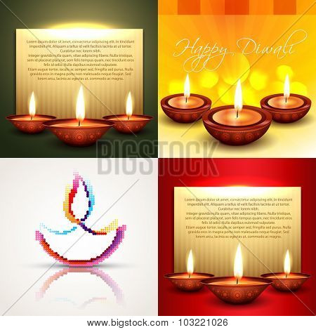 vector collection of different types of diwali background with decorated diya