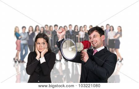Businesspeople foreground on the blurred people