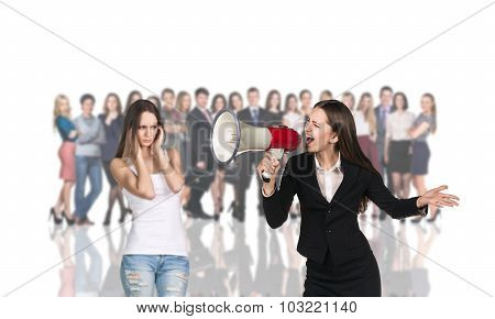 Businesswoman foreground on the blurred people