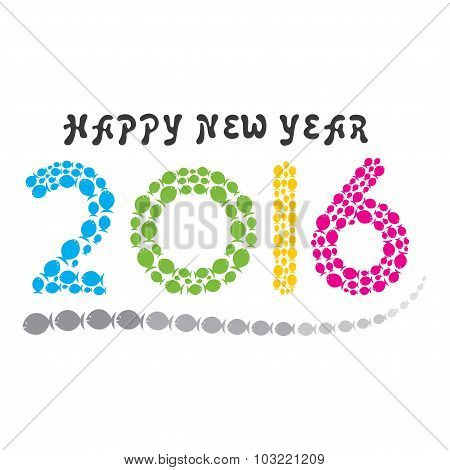 happy fish new year 2016 design