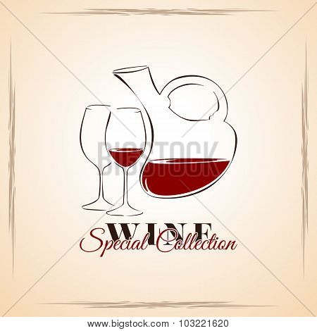 Wine - Special Collection, Cover For Wine List, Template Illustration