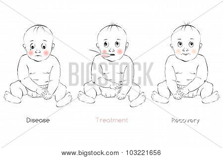 Baby's Recovery, Child's Facial Expression, Vector Template For Pharmaceutical Preparation