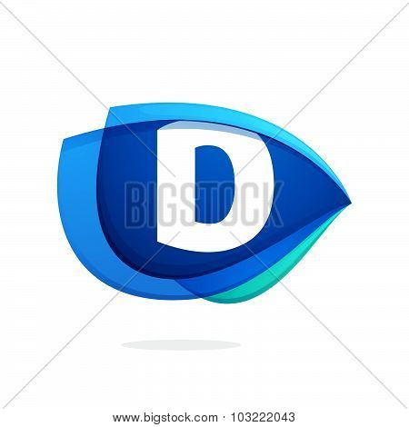 D Letter Logo With Blue Wing Or Eye.
