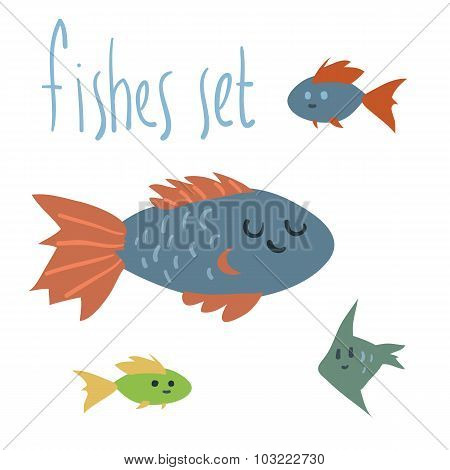 Vector cute cartoon fishes set.