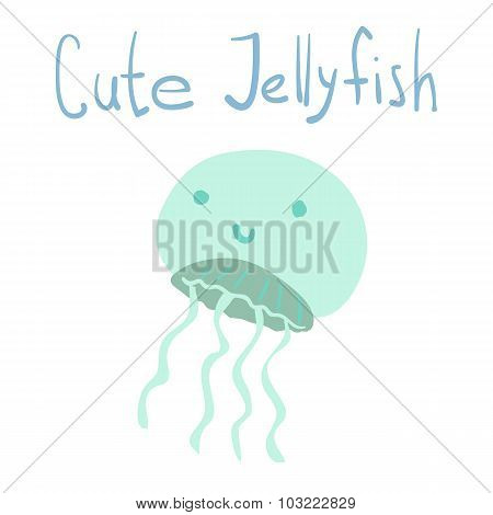 Vector cute cartoon ocean jellyfish.