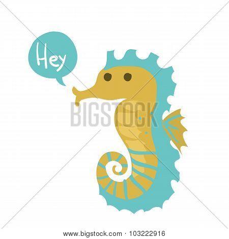 Vector cute cartoon ocean seahorse.