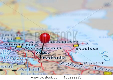 Tabriz pinned on a map of Asia
