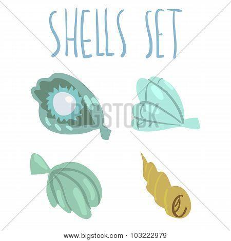 Vector cute cartoon ocean shells set.