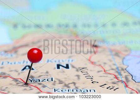 Yazd pinned on a map of Asia