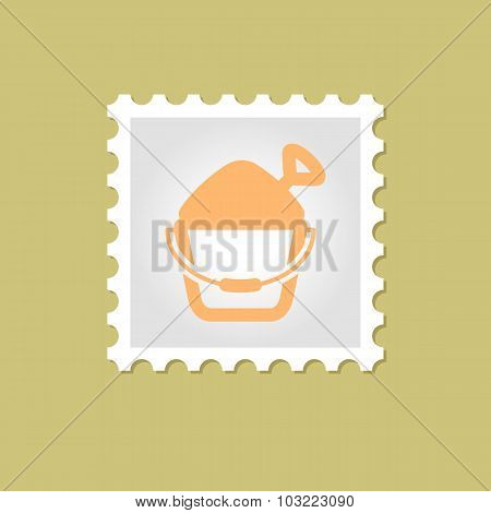 Sand Bucket and Shovel vector stamp