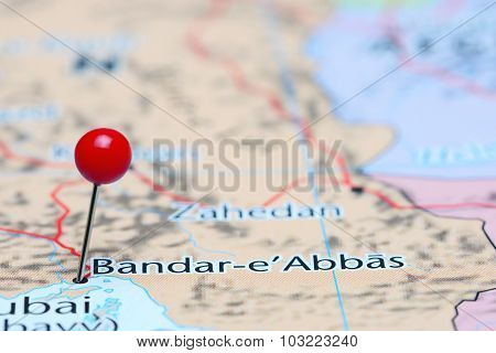 Bandar Abbas pinned on a map of Asia