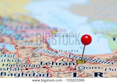 Tehran pinned on a map of Asia