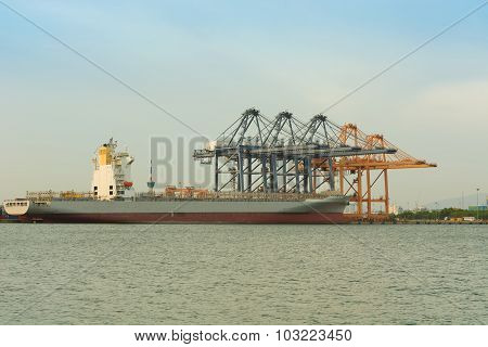 Motionlessly Of Cargo Ship Terminal.