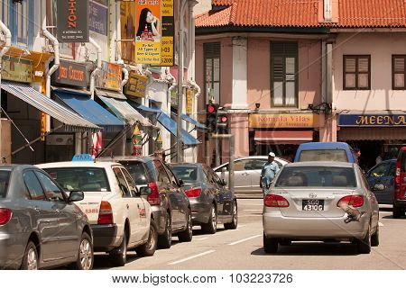 Singapore.little India - March 2008.the Crowded, Narrow Street In Little India