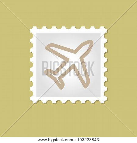 Airplane vector stamp