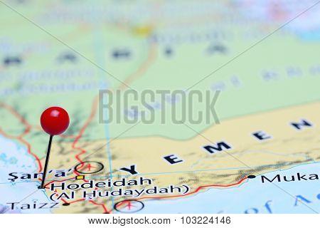 Hodeidah pinned on a map of Asia