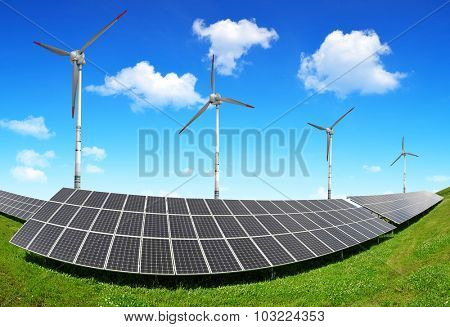 Solar energy panels and wind turbines. Clean energy concept.