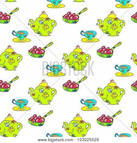 Tea Seamless childish pattern