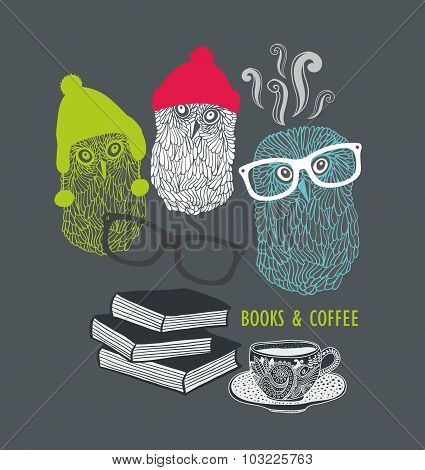 Three cute owls with books and cup of coffee.