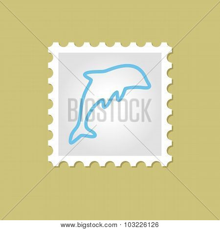 Dolphin vector stamp