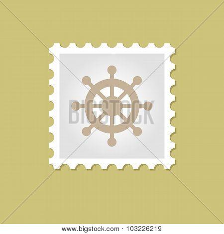 Ship Steering Wheel vector stamp