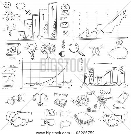 Sketch collection business elements in vector. Drawing freehand handshake office symbols money tree