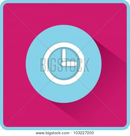 Flat time clock vector icon